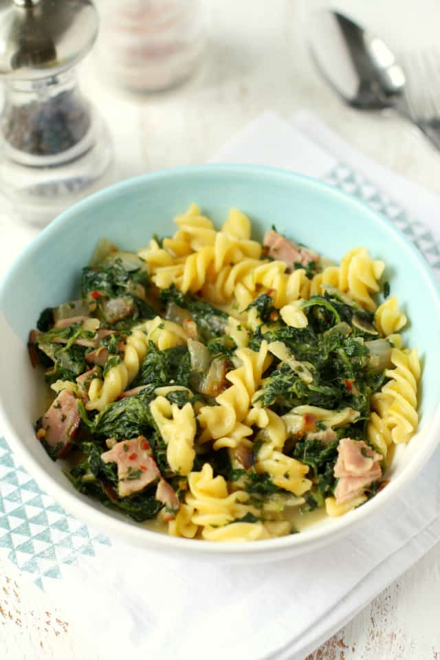 dairy free pasta with spinach and ham