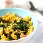 Pasta with Creamy Spinach and Ham Sauce.
