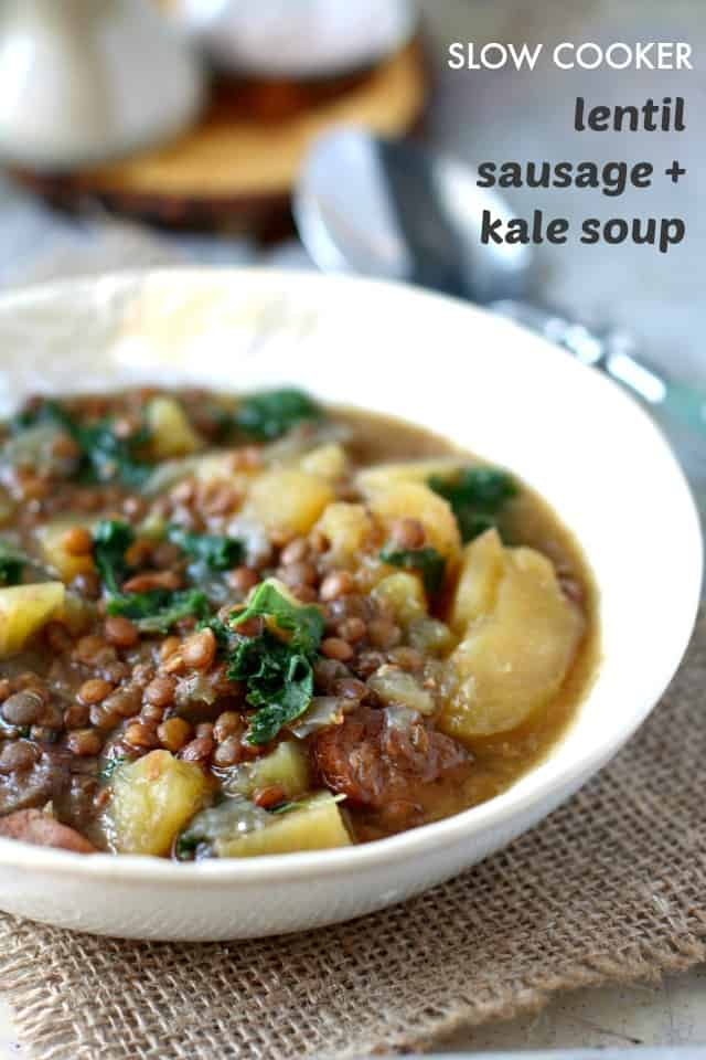 dairy free lentil, sausage, potato, and kale soup