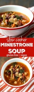 Warm and cozy minestrone soup made easy in the slow cooker! The perfect way to stay warm this winter. Gluten free and vegan recipe.