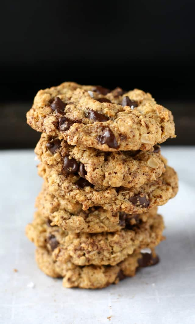 stack of sunbutter oatmeal cookies