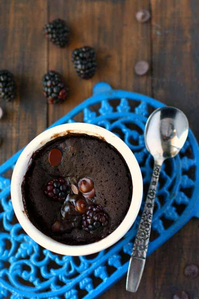 Blackberries and chocolate pair together perfectly in this easy mug cake.