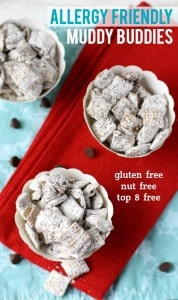 Chex cereal is coated in chocolate, sunbutter, and powdered sugar for a sweet treat that's allergy friendly!