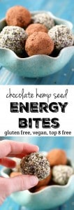 These energy bites are packed with heart healthy hemp hearts and pumpkin seeds! Delicious and nutritious.