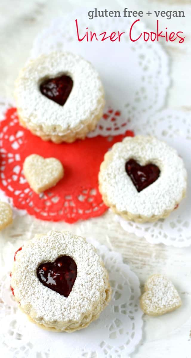 Gluten free and vegan linzer cookies are a sweet treat that's sure to be appreciated on Valentine's Day!