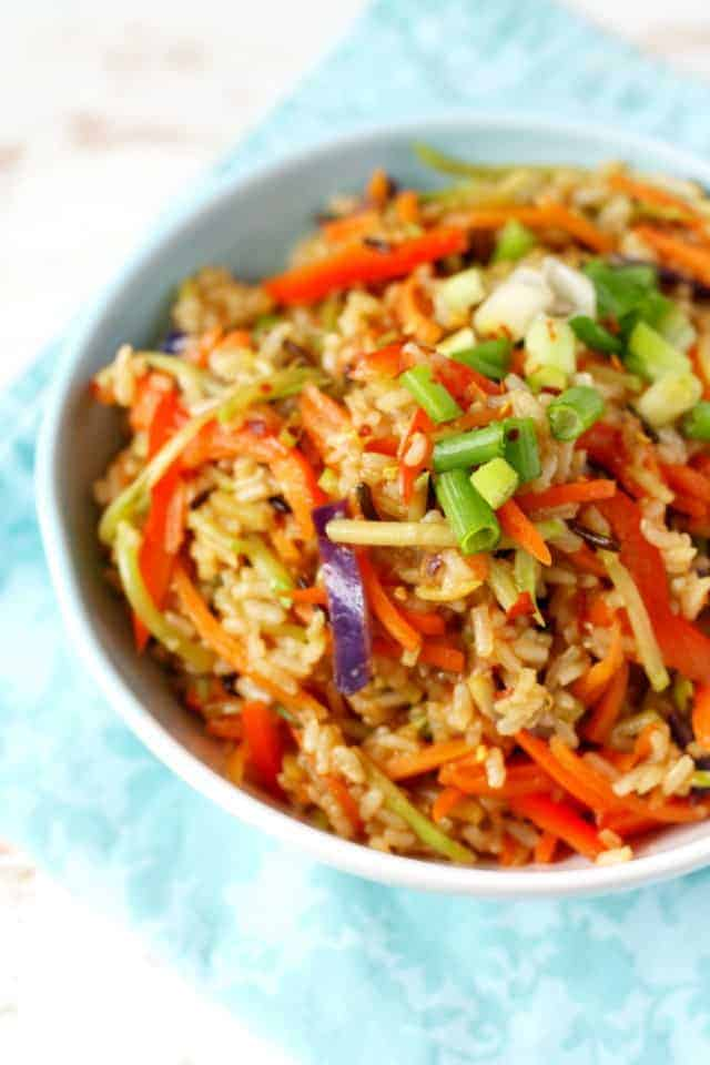 vegan fried rice in a blue bowl