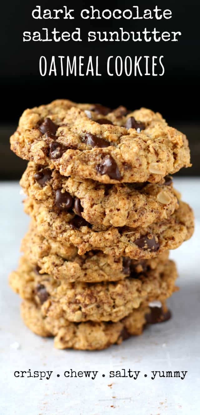 Delicious oatmeal cookies made with grated chocolate, dark chocolate chips, and flaky sea salt. A hint of sunbutter imparts a nutty flavor.