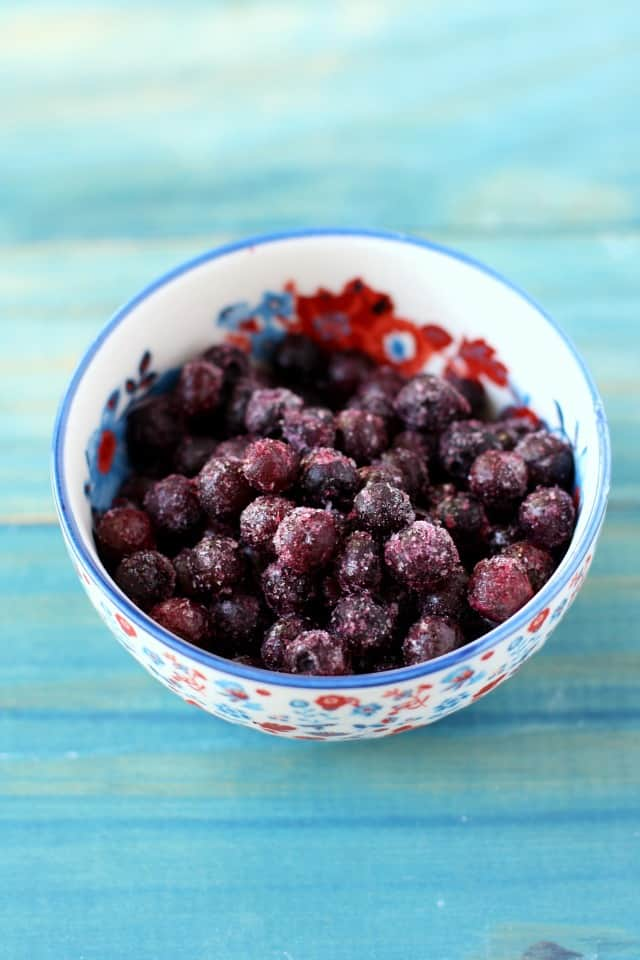 frozen wild blueberries in a bowl