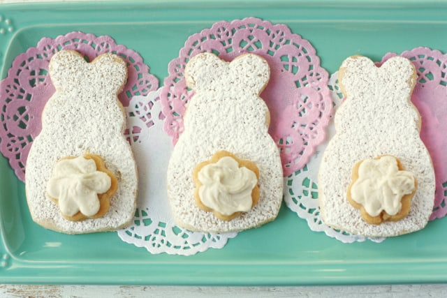 These bunny cookies are so fun for Easter! Light and buttery sugar cookies are delcious and allergy friendly!