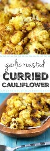 My FAVORITE way to eat cauliflower! Curried roasted garlic cauliflower is easy, healhty, and spicy!