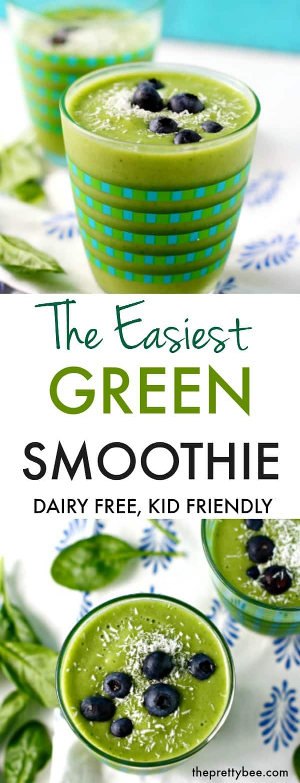 A simple and delicious green smoothie recipe that kids and adults love. This is creamy, delicious, and healthy! A perfect start to your day. #dairyfree #grainfree #smoothie