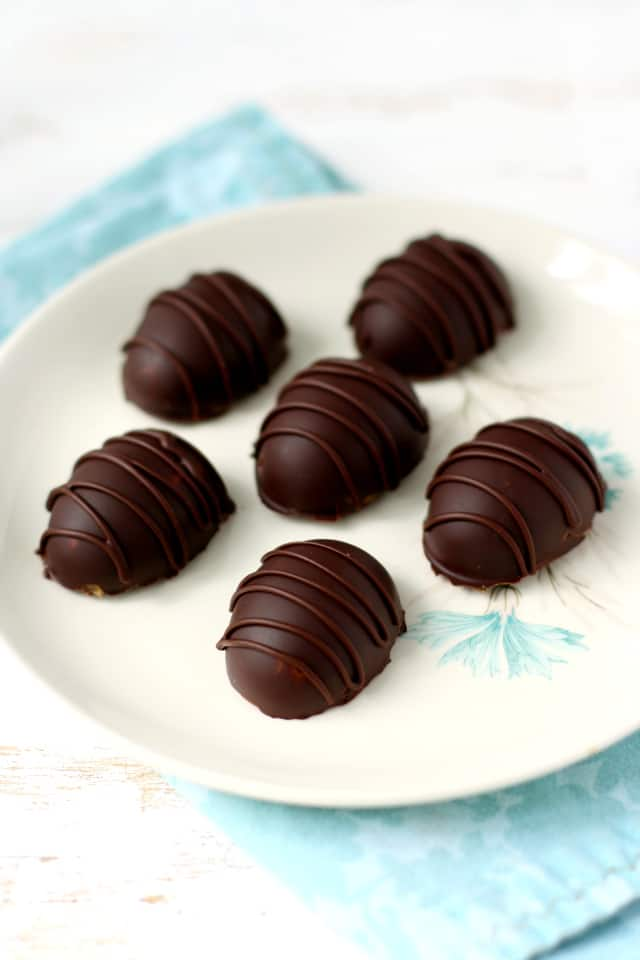 chocolate caramel Easter eggs on a white plate