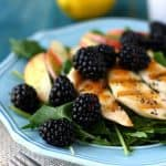 Spring Green Salad with Blackberries, Chicken, Poppy Seed Dressing.