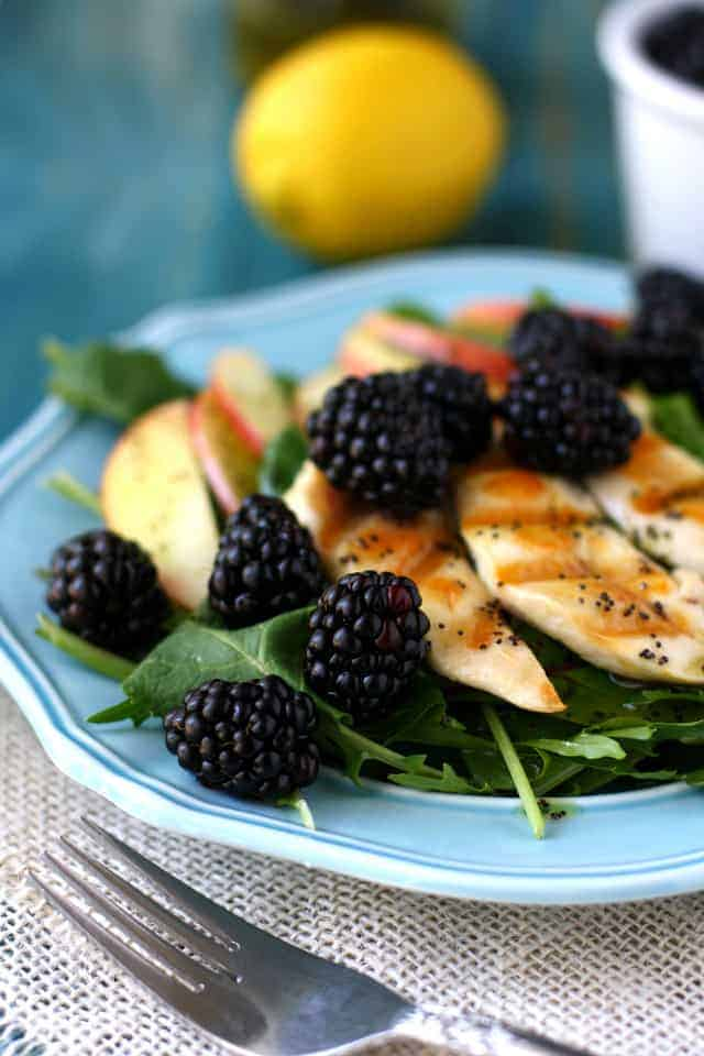 green salad with blackberries apples and chicken