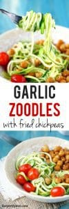 Garlic zoodles with fried chickpeas - an easy and flavorful meal!