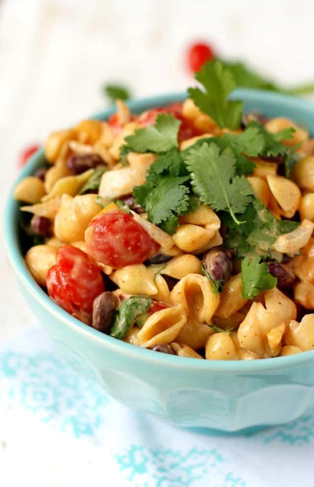 gluten free vegan pasta salad with beans