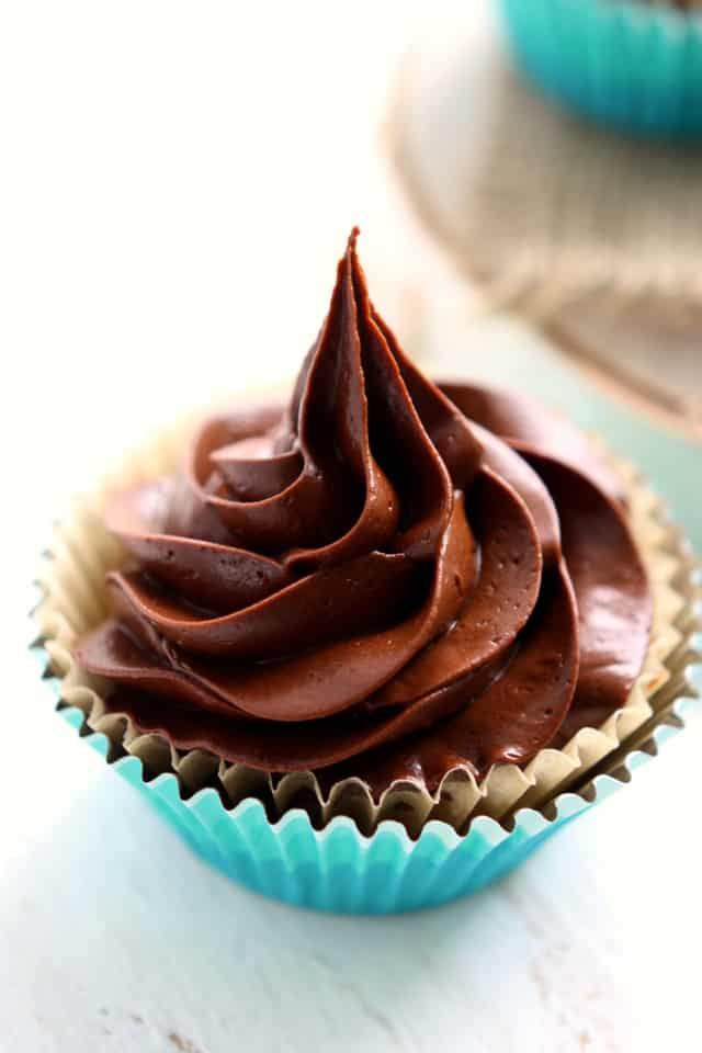 vegan and gluten free vanilla cupcake with chocolate icing