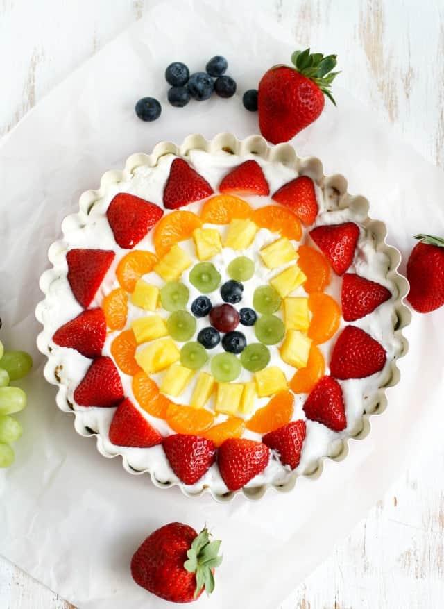 no-bake rainbow fruit tart