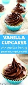 Gluten free and vegan vanilla cupcakes with chocolate frosting. Everyone can enjoy this classic cupcake recipe!