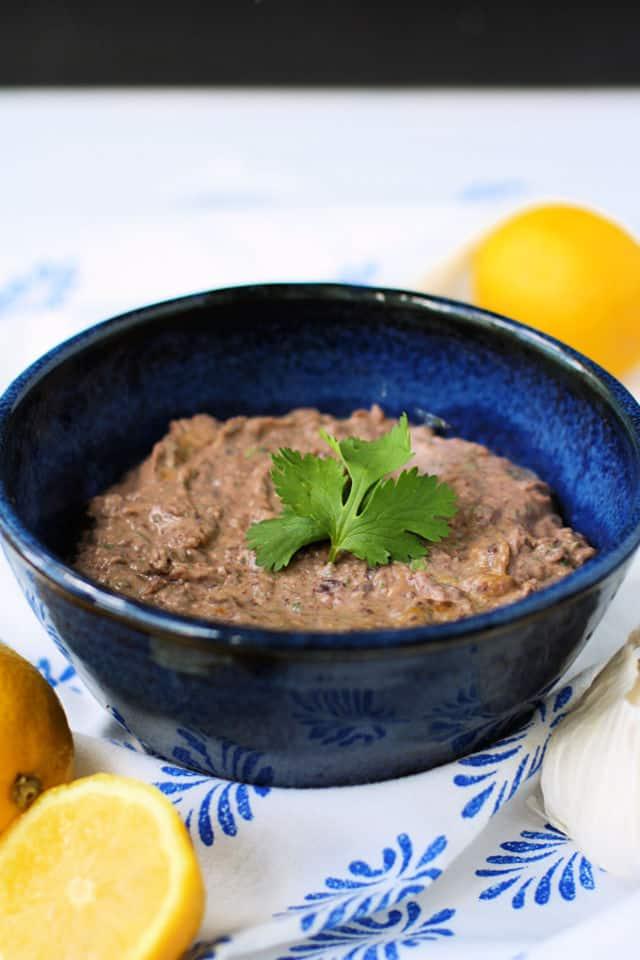 black bean hummus in a blue bowl