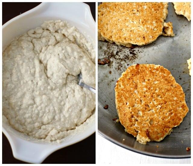 dairy free pancake batter and pancakes in a frying pan