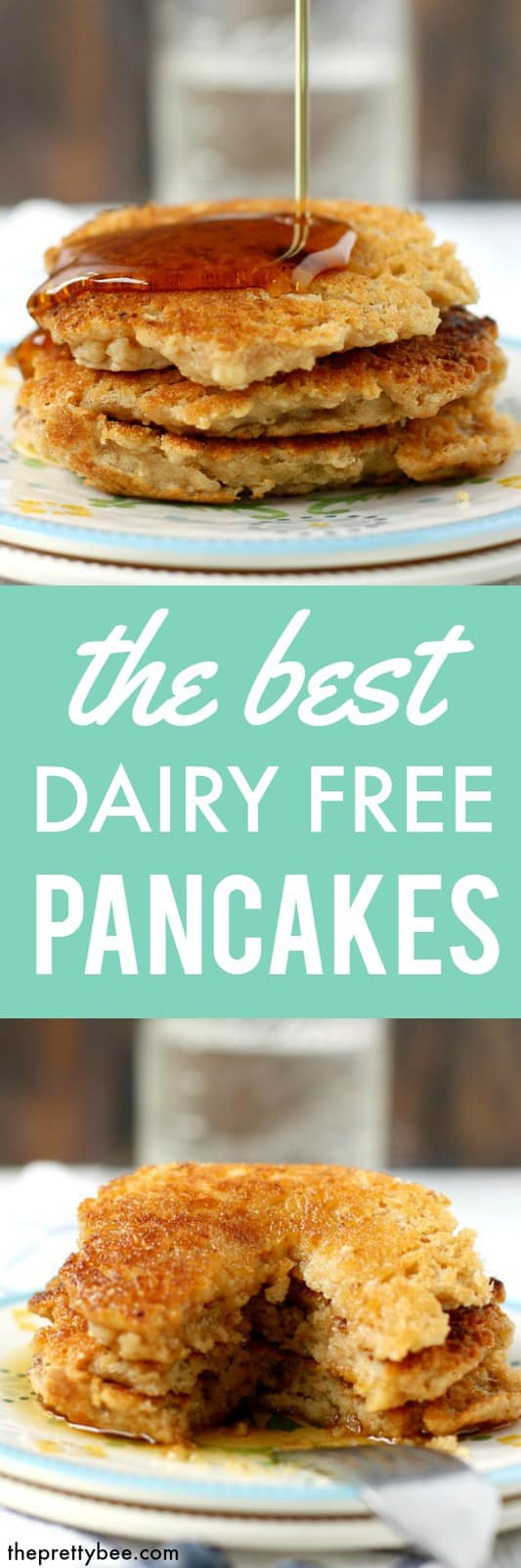 Light and fluffy pancakes made without dairy or eggs! These are perfect for a weekend breakfast!