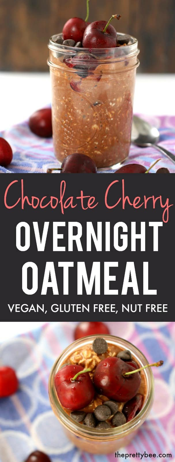 An easy and delicious recipe for chocolate cherry overnight oats. You'll love this healthy breakfast option for busy mornings! #vegan #plantbased #nutfree #glutenfree