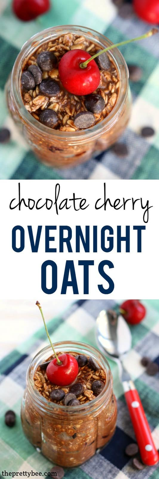 An easy and delicious recipe for chocolate cherry overnight oats. You'll love waking up for this breakfast! #vegan #glutenfree #dairyfree