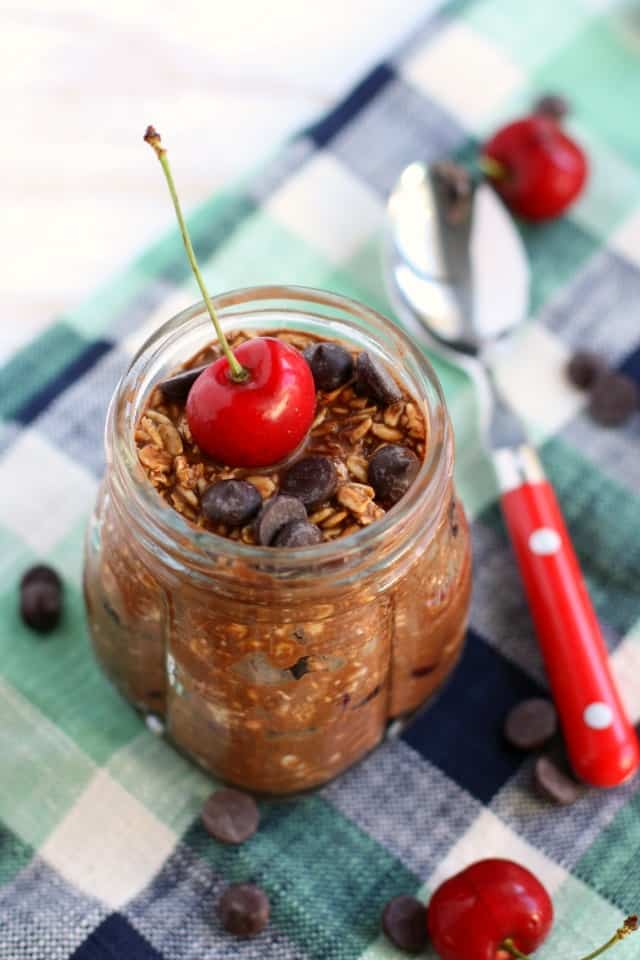 vegan overnight oats with chocolate and cherries
