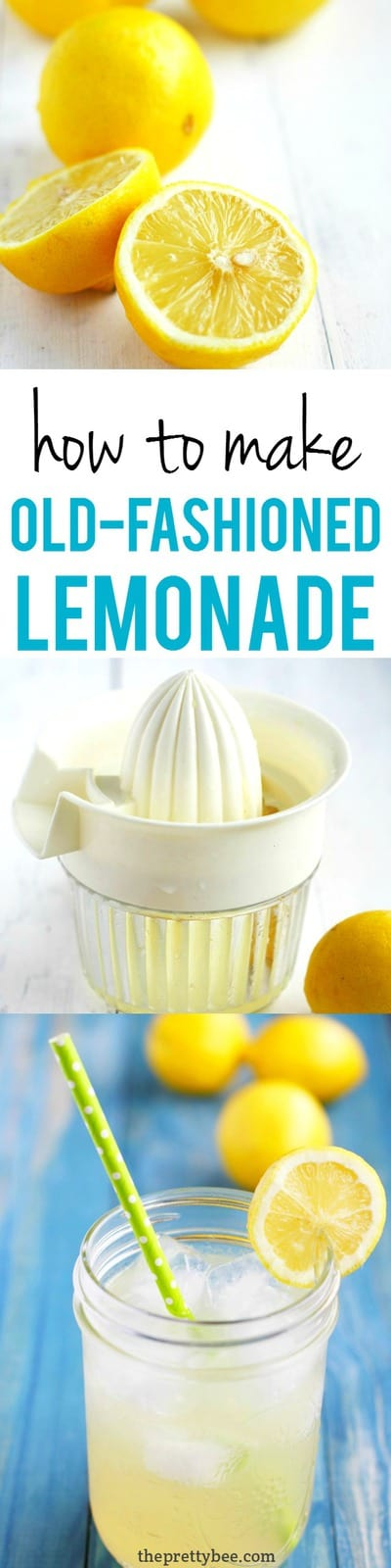 There's nothing like a glass of cold lemonade on a hot summer day! This recipe for old fashioned lemonade is the best! #lemonade #vegan #summer
