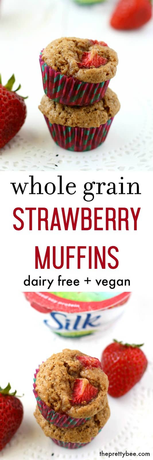 Whole grain strawberry muffins are the perfect little sweet treat for breakfast or a snack! Dairy free and vegan recipe. #ad