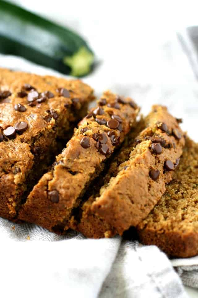 vegan chocolate chip zucchini bread sliced