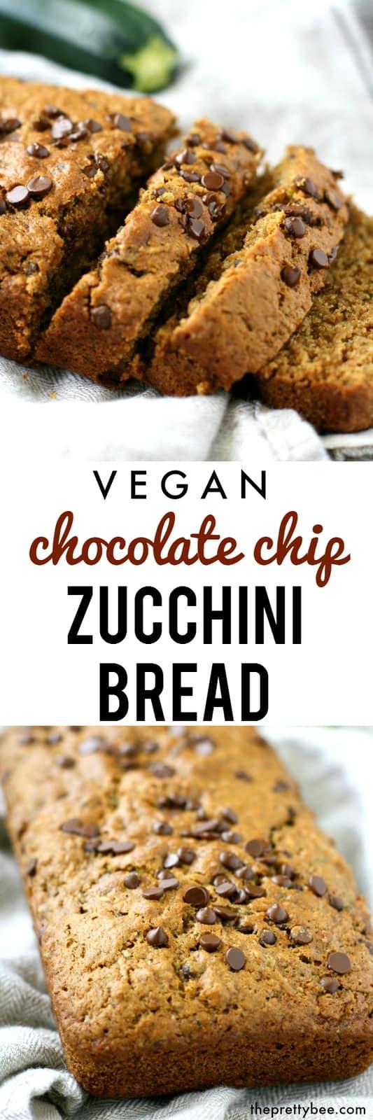 Delicious whole grain vegan chocolate chip zucchini bread. A healther treat!