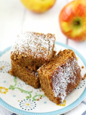 Delicious and moist apple spice cake is gluten free and vegan. An easy recipe for fall!