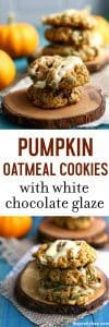 Pumpkin oatmeal cookies are chewy and delicious and topped with a sweet white chocolate glaze! #ad