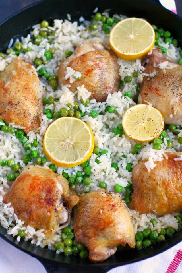 chicken thighs with rice and lemon