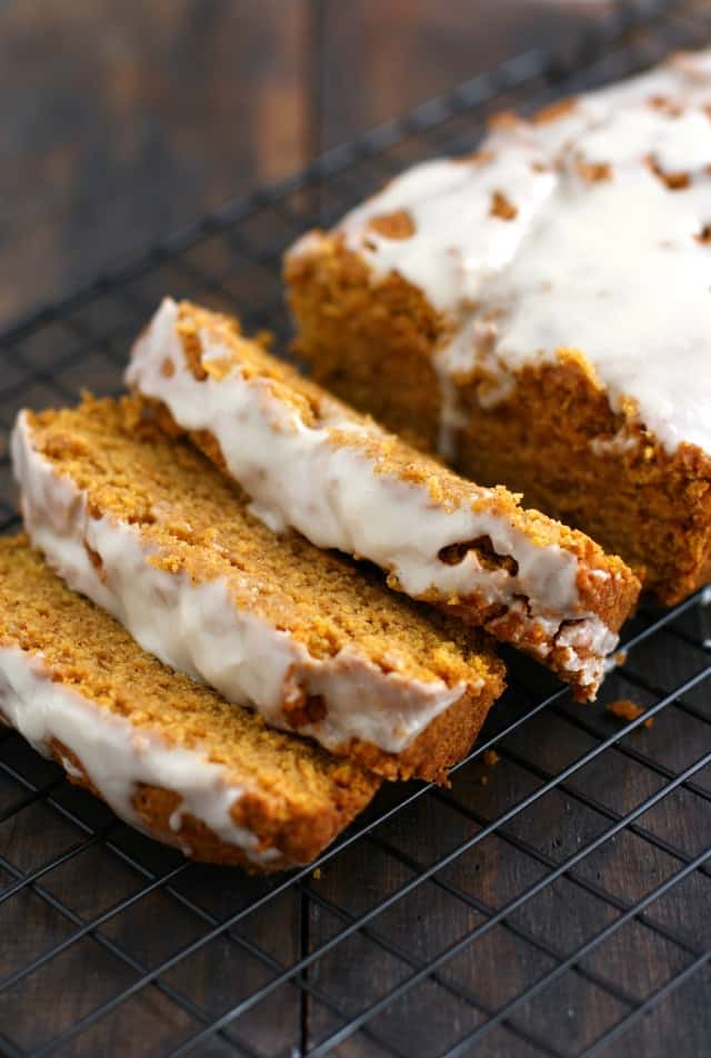vegan gluten free pumpkin bread on a cooling rack