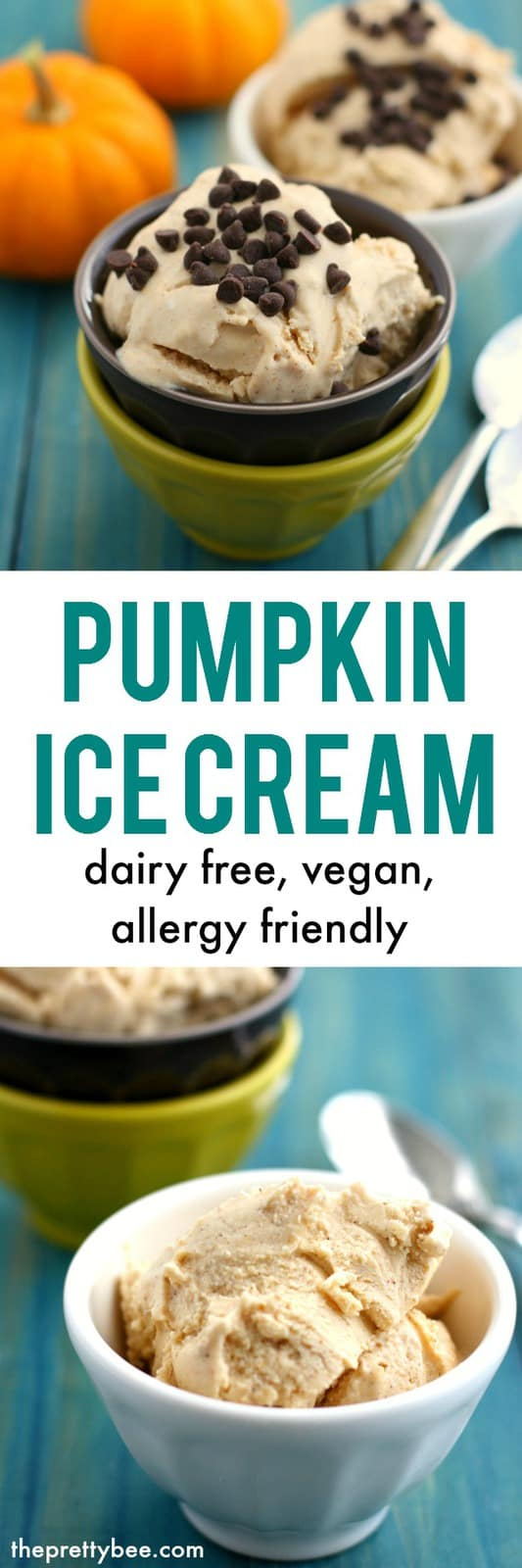 Creamy, delicious, flavorful pumpkin ice cream is dairy free and vegan. A delicious allergy friendly treat. #snackfreely #ad