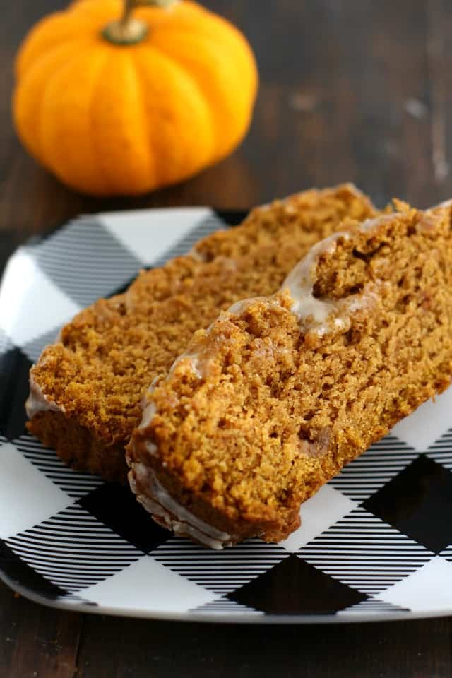 Soft and delicious gluten free and vegan pumpkin spice bread with icing.