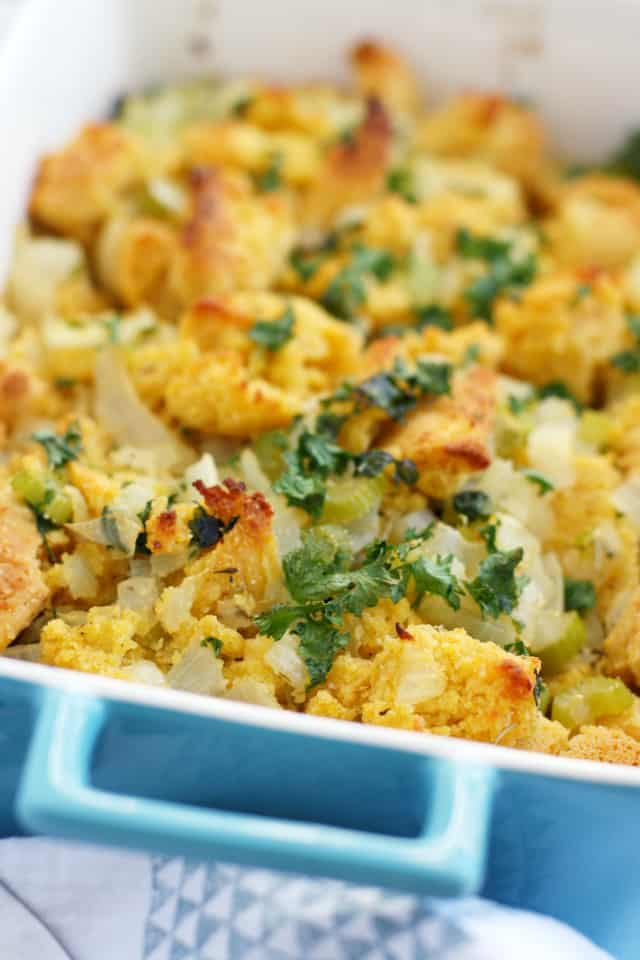 Gluten free and vegan cornbread stuffing