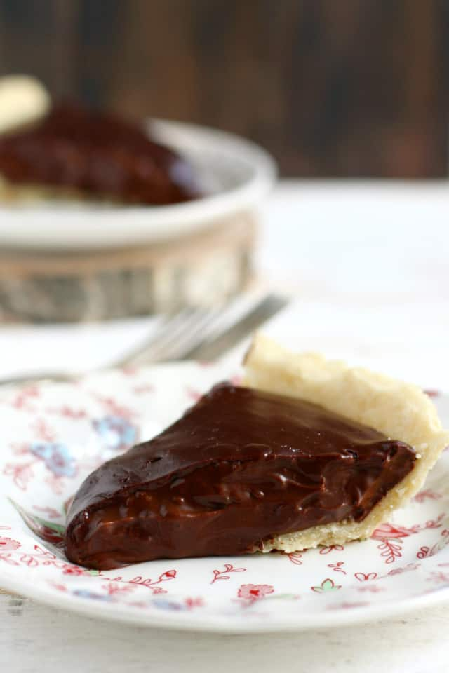 Delicious chocolate pie just like grandma used to make - but this version is gluten free and vegan!