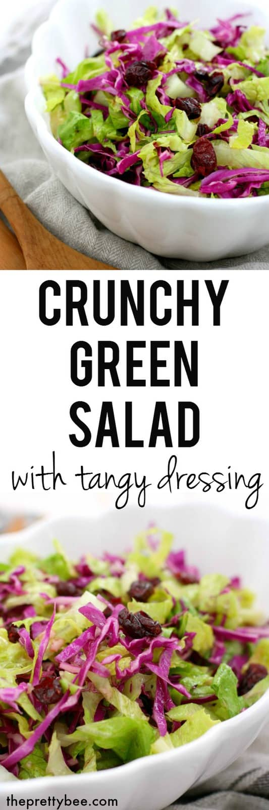 Delicious, easy, flavorful crunchy green salad with a tangy dressing. Perfect for Thanksgiving! #vegan #glutenfree #dairyfree