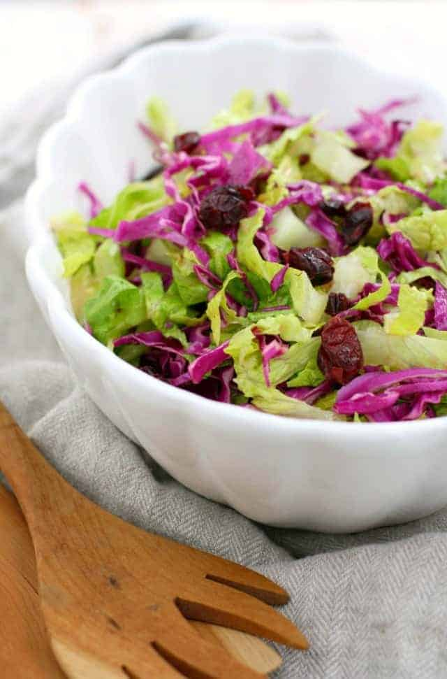green salad with tangy dressing