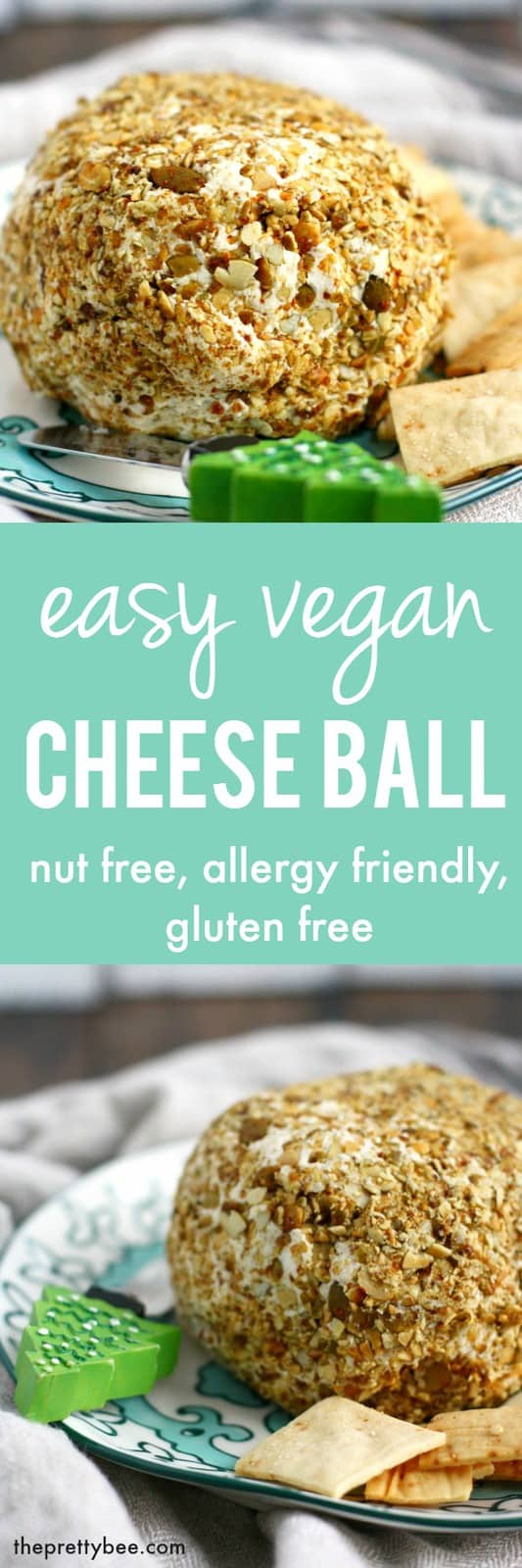 A creamy, flavorful vegan cheese ball is the perfect party appetizer! #nutfree #dairyfree #glutenfree
