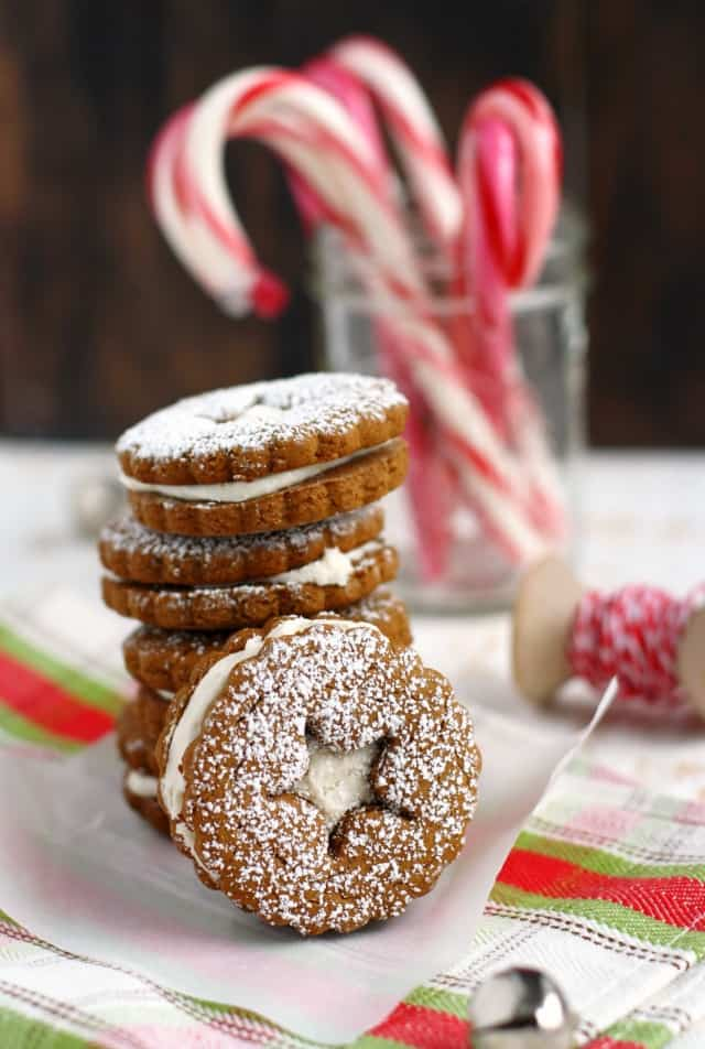 Vegan and gluten free gingerbread sandwich cookies are a festive holiday treat! #glutenfree #sponsored