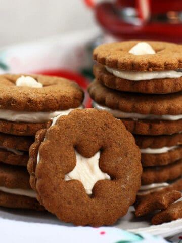 gluten free vegan gingerbread sandwich cookies