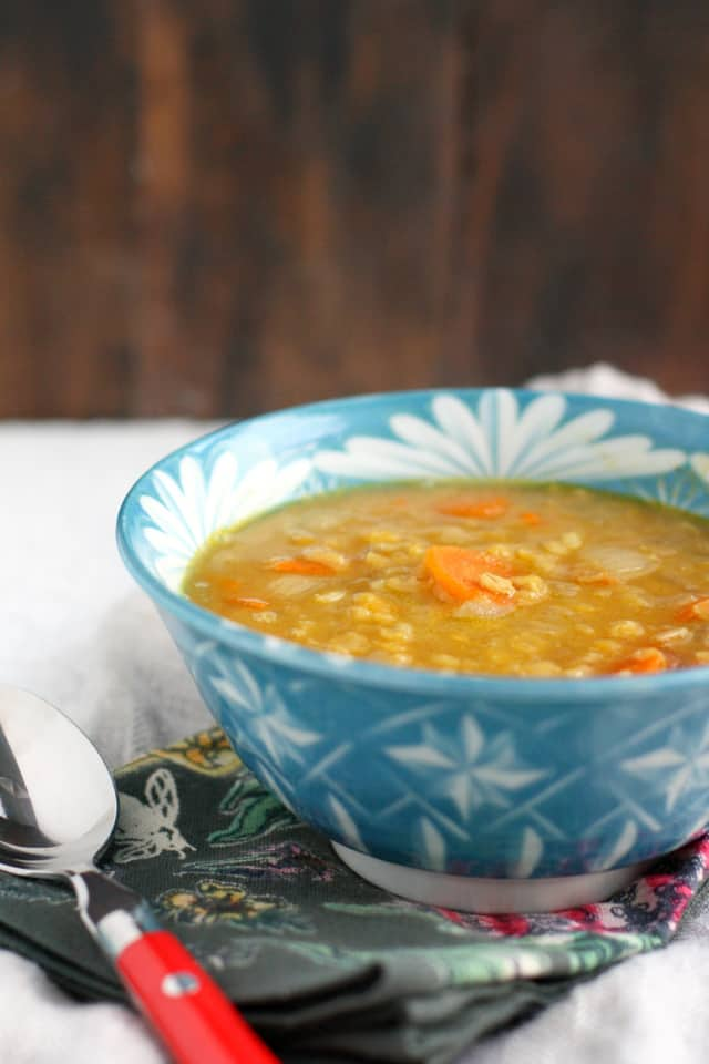 dairy free curried lentil rice soup