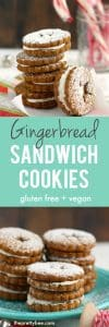 Allergy friendly, vegan and gluten free gingerbread sandwich cookies are a festive holiday treat! #glutenfree #sponsored