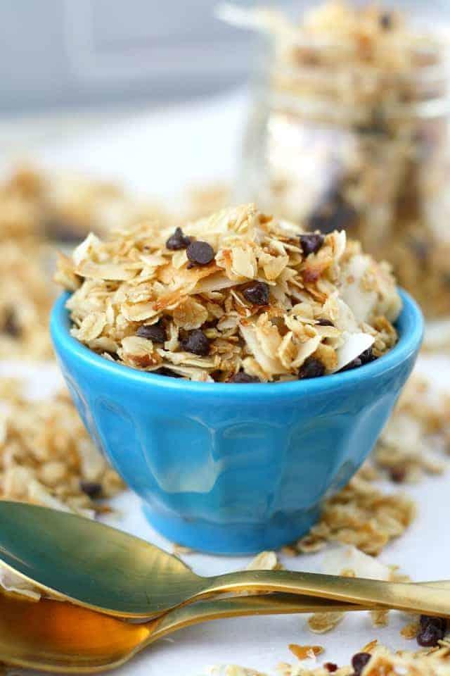 stovetop coconut granola in blue bowl
