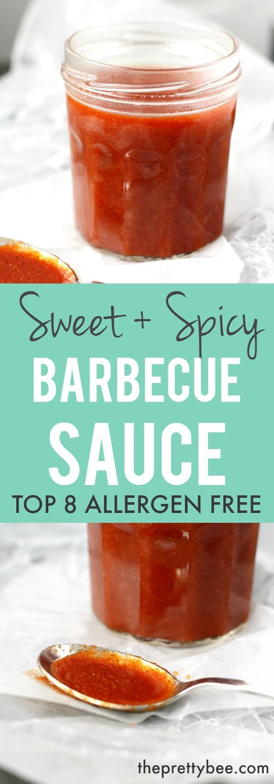 An easy recipe for sweet and spicy barbecue sauce that's gluten free and allergy friendly!